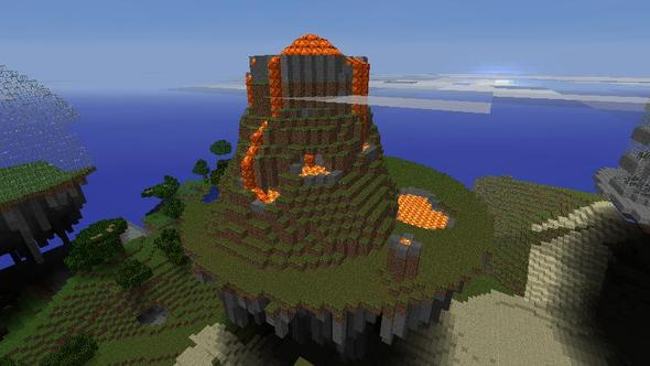 Floating Island - Realistic Volcano